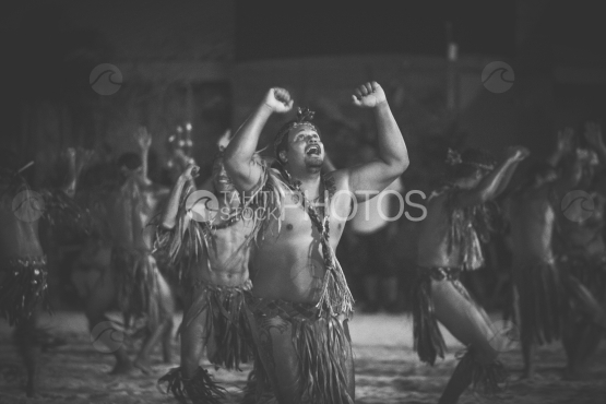 Troup of dancers during a ceremony, Bora Bora