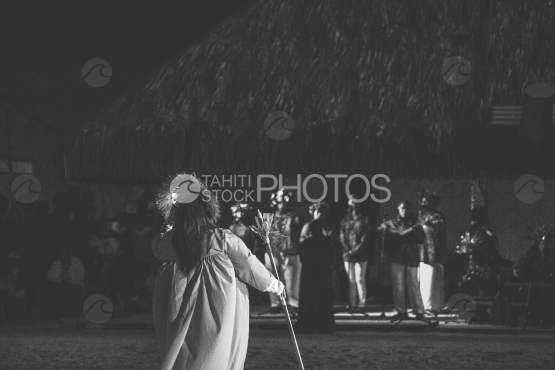 Preacher and Troup of dancers during a ceremony, Bora Bora