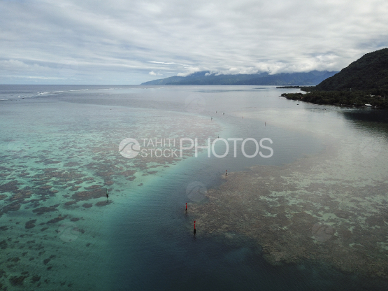Tahiti, aerial shot of the lagoon and pass