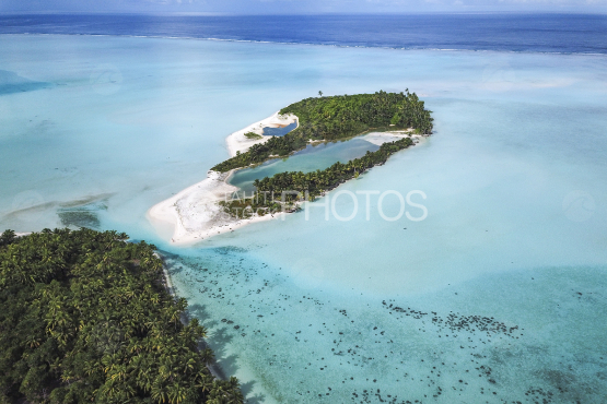 Tetiaroa, aerial shot of the lagoon and coconut trees