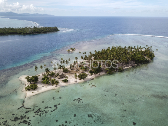 Tahaa, aerial shot of the pass and islands