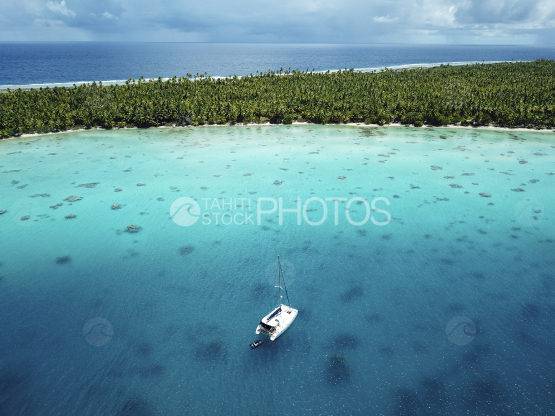 Fakarava, aerial shot of the lagoon and sail boat