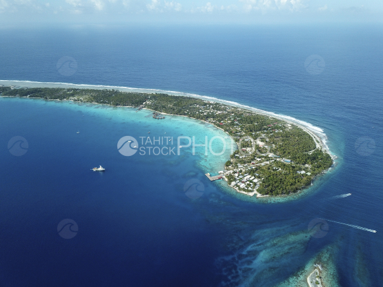 Rangiroa, aerial shot of the lagoon and island
