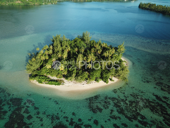 Huahine, aerial shot of the lagoon and island