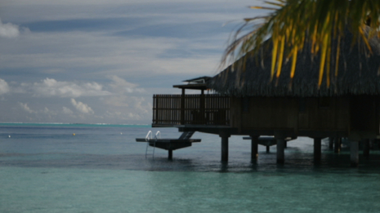 Bora Bora, view on a luxury hotel and bungalow, slow motion