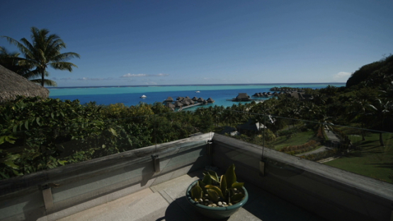 Bora Bora, view from a balcony of the lagoon and hotels