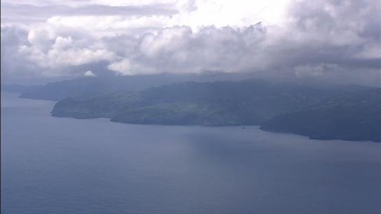 Aerial view of Hiva Oa, Marquesas island