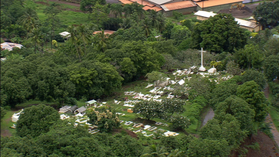 Hiva Oa, Aerial view of the cimetery of Atuona, Marquesas island