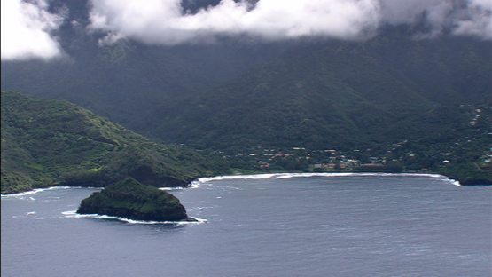 Hiva Oa, Aerial view along the coast, Marquesas island