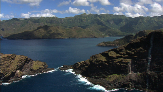 Aerial view of Nuku Hiva, bay of Taiohae