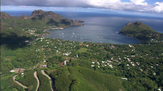 Aerial view of Nuku Hiva, village of the bay of Taiohae