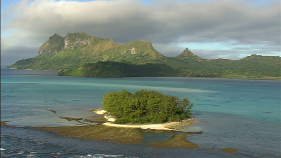 Aerial view of the island Raivavae, Austral islands, over the lagoon