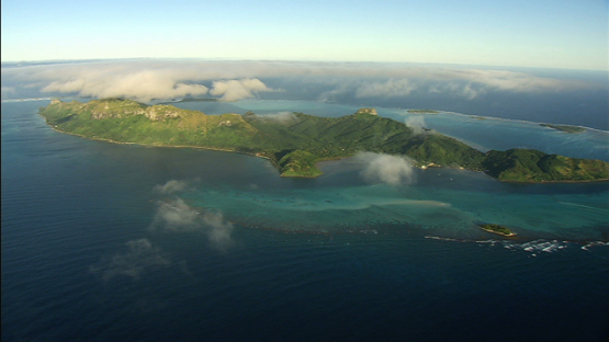 Aerial view of the island Raivavae and her lagoon, austral islands