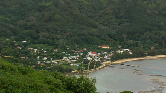 Aerial view of the village of Rurutu, austral islands