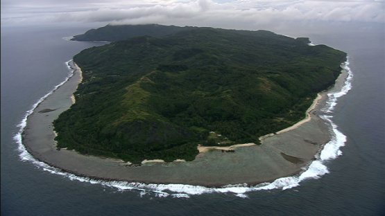 Aerial view of Rurutu and ocean, austral islands
