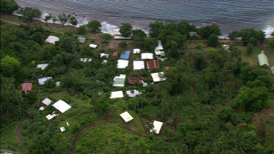 Aerial footage of Hapatoni, village of Tahuata, Marquesas islands