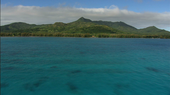 Aerial view of Tubuai, Austral islands, shot from the lagoon