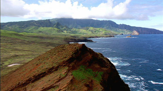 Aerial footage of Ua Huka, Marquesas islands, along the oceanic rocky coast