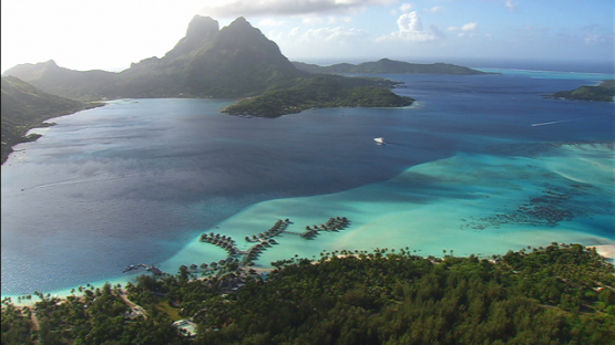 Bora Bora aerial view, Leeward islands, luxury hotel and overwater bungalows in the lagoon