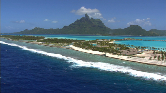 Bora Bora, leeward islands, aerial view of the island in the lagoon