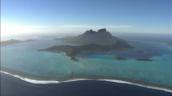 Aerial view of Bora Bora and the lagoon, leeward islands