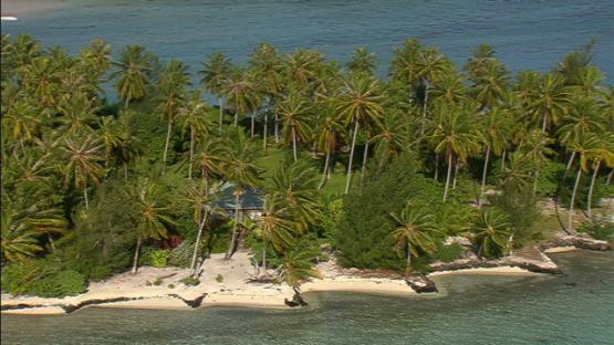 Aerial view of ilets in the lagoon of Bora Bora, Leeward islands