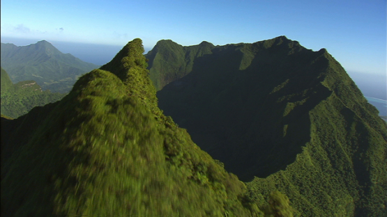 Raiatea, Leeward islands, aerial view of the top and mountains chain
