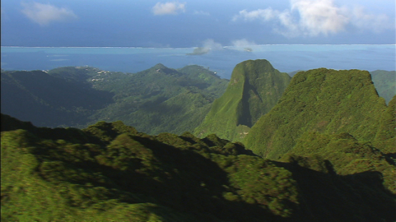 Raiatea, Leeward islands, aerial view from the top of the mountains