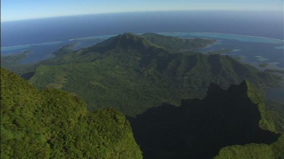 Raiatea, Leeward islands, aerial view of the mountains and ocean