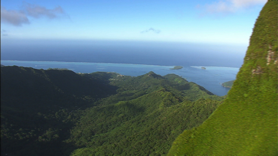 Raiatea, Leeward islands, aerial view of the mountains and the lagoon