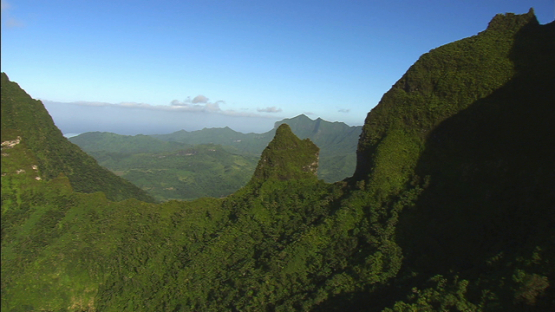Raiatea, Leeward islands, aerial view of the top of the mountains