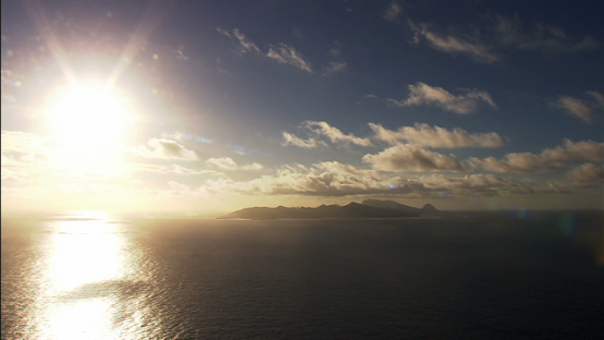 Raiatea and Tahaa, leeward islands, aerial view of the sunset