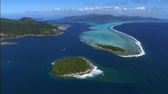 Aerial view of the pass of Uturoa, Leeward islands, Raiatea
