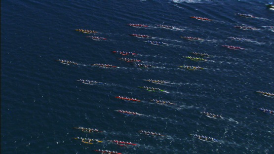 Aerial view of the start of polynesian canoe race, Raiatea, Leeward islands