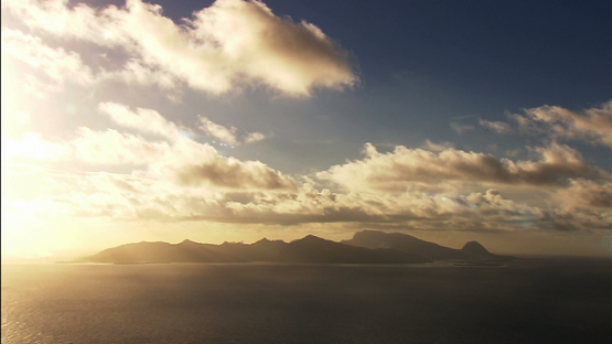 Aerial view of the sunset on Tahaa and Raiatea