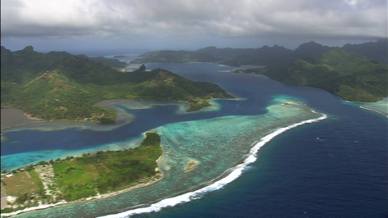 Huahine, Leeward islands, panoramic aerial view of the island