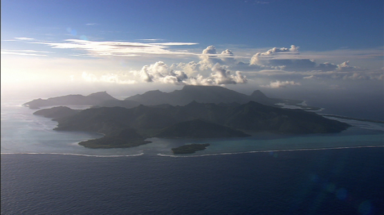 Huahine, Leeward islands, aerial view of the island