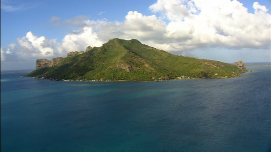 Aerial view of Maupiti, Leeward islands, inside the lagoon