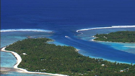 Maupiti, Leeward islands, aerial view of the pass between small islands