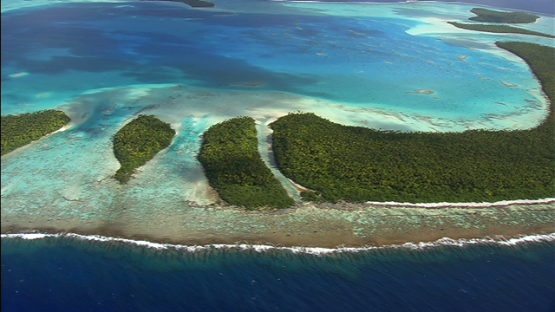 Aerial view of the barrier reef of the atoll Tetiaroa, Windward islands