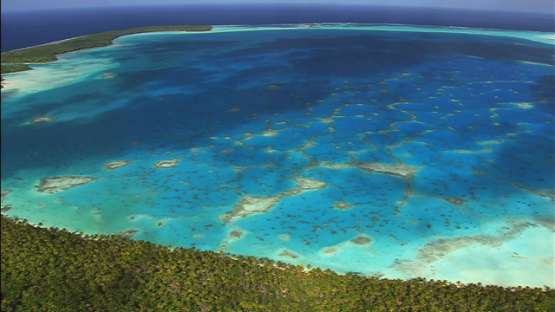 Aerial view of the lagoon and islets of the atoll Tetiaroa, Windward islands