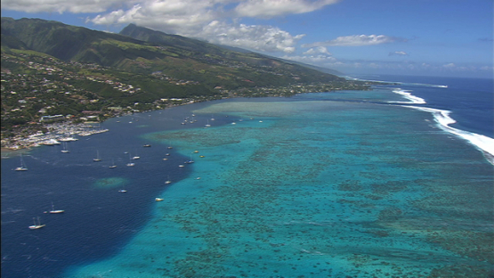 Aerial view of the west coast of Tahiti, windward islands