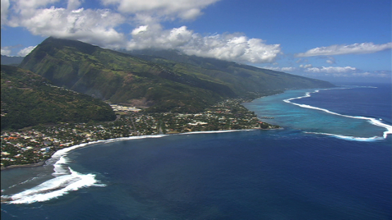 West coast of Tahiti, aerial view, windward islands