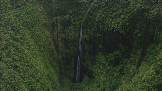 Tahiti, vertical aerial view of the waterfall, windward islands