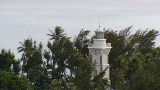 Aerial view of the light tower of pointe Venus, Mahina, windward islands