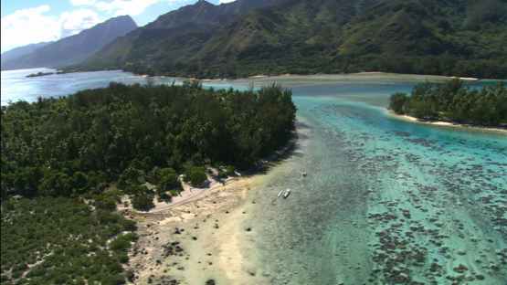 Moorea, aerial view of the lagoon and islets, leeward islands