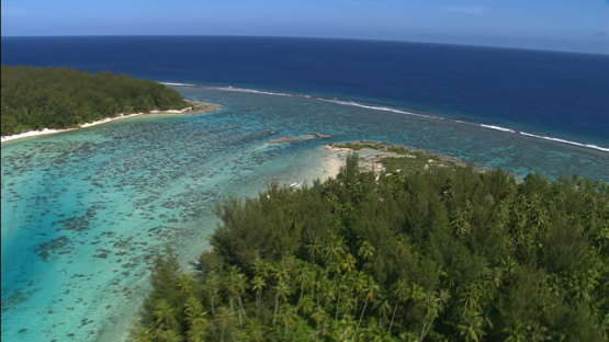 Moorea, aerial view over the islets, leeward islands