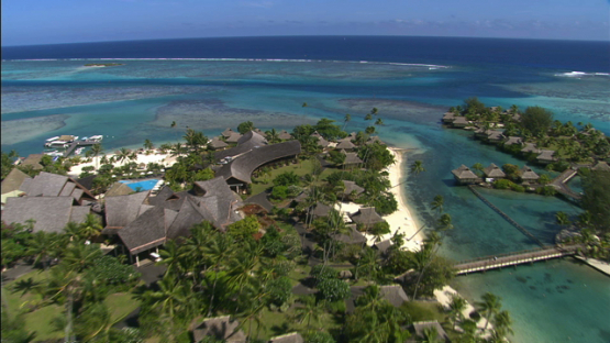 Aerial view over a hotel in the lagoon of Moorea,  leeward islands