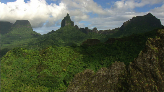 Aerial view over the crest of the mountains, Moorea, windward islands