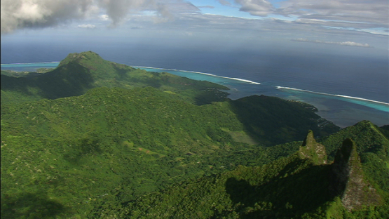 Aerial view over the mountain ridge, Moorea, windward islands